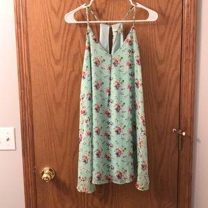 Mint, floral summer dress